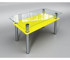 """Стеклянный стол Sentenzo """"Вега с полкой  желтый"""""""