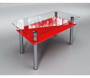 """Стеклянный стол Sentenzo """"Вега с полкой  красный!"""""""