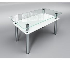 """Стеклянный стол Sentenzo """"Вега с полкой белый"""""""