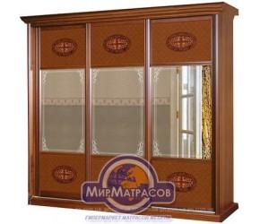 Шкаф-купе Скаи 3-х дверный, серия С-3, корпус: орех Караваджо, фасад: зеркало с художественной обработкой