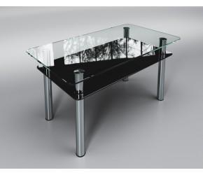 """Стеклянный стол Sentenzo """"Вега с полкой черный"""""""